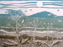 'Early Summer Morning, Bantham' Lino print